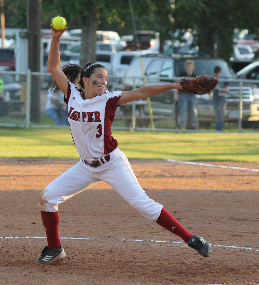 Brooke Garcia fires a pitch home during last week's victory over Kirbyville. Photo: Jason Dunn