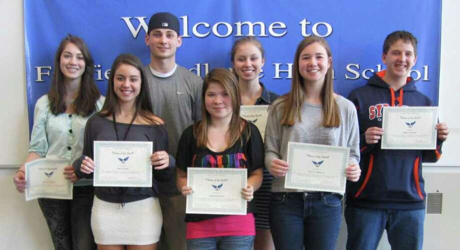 A group of Fairfield Ludlowe High School students were recognized recently as Falcons of the Month for what the school said was enriching their strengths and exploring new ideas in the pursuit of personal identity ó a trait included in the school mission statement.  Staff and students submitted nominations.  Displaying their certificates ciring them as winners are, from left, Miriam Goldfield, Marisa Klein, Will Dailey (a January recipient), Lizzie Revay, Brandi Stawicki. Eleanor Amicucc, and Dylan Kornfeld.  Honored but missing from the photo are Emily Varjas, Evan Brucia, Natalie Chamberlain and Henry Carroll. Photo: Contributed Photo / Fairfield Citizen contributed