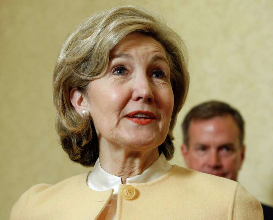 In this file photo made Jan. 24, 2009, Sen. Kay Bailey Hutchison, R-Texas, talks before a news conference, in Austin, Texas. Hutchison will be in Beaumont today for an appreciation lunch at the Holiday Inn on Walden Road.  AP file photo Photo: Harry Cabluck, STF / AP