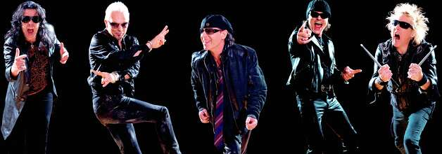 Rock band the Scorpions, from left Pawel Maciwoda, Rudolf Schenker, Klaus Meine, Matthias Jabs, James Kottak Photo: Courtesy Photo