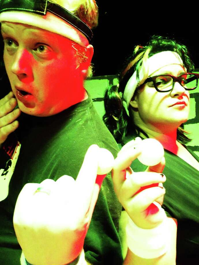 "Chris Manley, (from left) and Jessie Rose in ""Beer Pong: The Musical."" Courtesy of the Rose Theatre Company."