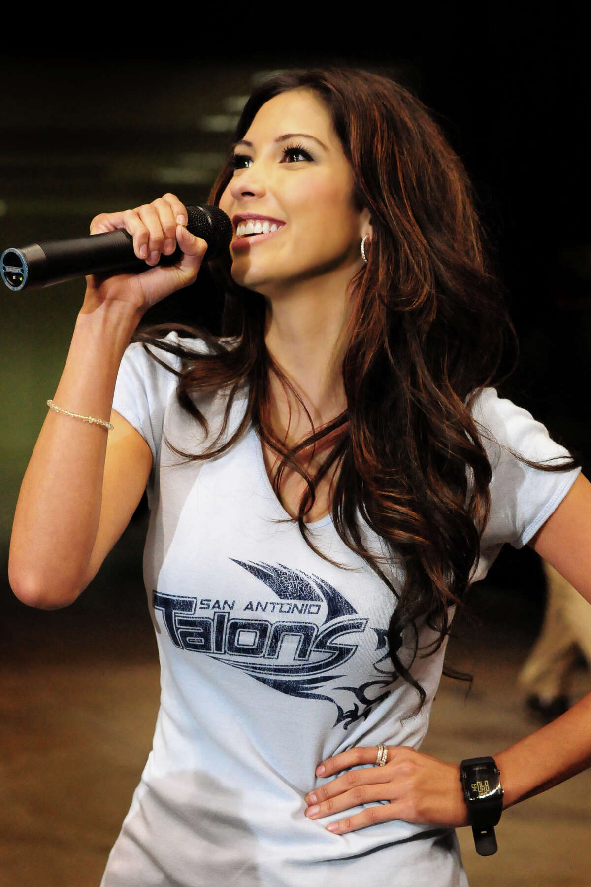 Vanessa Macias fires up fans as a host for the San Antonio Talons.