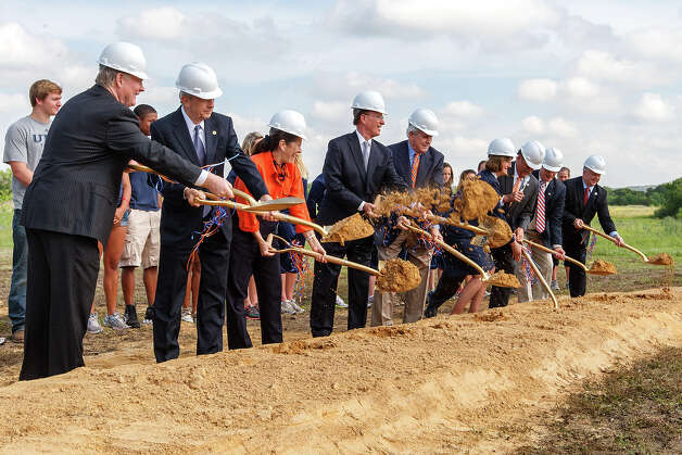 Groundreaking ceremonies were held for Phase I of the UTSA Athletics Complex at UTSA Park West Campus, Hausman Road and Kyle Seale Parkway, on April 10, 2012. Shown here are (left to right) City Councilman Reid Williams, State Senator Jeff Wentworth, former UT Regent Cyndi Krier, Bexar County Commissioner Nelson Wolff, UT Board of Regents Chairman Gene Powell, UTSA Athletic Director Lynn Hickey, UTSA President Dr. Ricardo Romo, Bexas County Commissioner Tommy Adkisson and  Bexar County Commissioner Kevin Wolff.  Phase I of the project is slated to include a 1,000 seat track stadium, a 1,000 seat soccer stadium, roadway, surface parking, retention basin and other related infrastructure.  The City of San Antonio and Bexar County voters approved $22.1 million in bond referendum monies ($5.6 million in city bonds, $16.5 in County bonds) for the University to construct Phase 1.  Eventually, all of UTSA Athletics will be located on the Park West Campus.  The Athletics Complex will contain venues for baseball, softball, tennis and football practice facilities. Photo by Marvin Pfeiffer / Prime Time Newspapers Photo: MARVIN PFEIFFER, Marvin Pfeiffer / Prime Time Newspapers / Prime Time Newspapers 2012