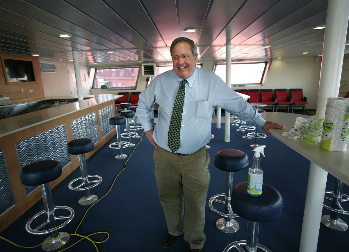 Fred Hall, vice president and general manager of The Bridgeport & Port Jefferson Steamboat Co., shows off the new bar/lounge in the ferry Park City, currently being refitted in New London, on April 10, 2012.