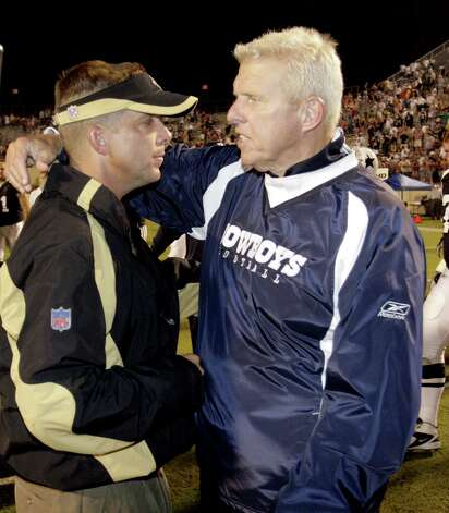 "FILE - In this Aug. 21, 2006 file photo, New Orlean Saints head coach Sean Payton, left, congratulates Dallas Cowboys head coach BIll Parcells after the Cowboys beat the Saints 30-7 in a preseason NFL football game at Independence Stadium in Shreveport, La. Payton says he will meet Tuesday, March 27, 2012, with Bill Parcells, and part of that discussion will include who will coach the Saints this coming season.  Payton says he will decide in the next ""two to three"" days whether he will appeal the suspension that would keep him off the sideline this season because of his role in the Saints' bounty system. (AP Photo/The Shreveport Times, Shane Bevel) ** NO SALES, MAGS OUT  MANDATORY CREDIT Photo: AP"