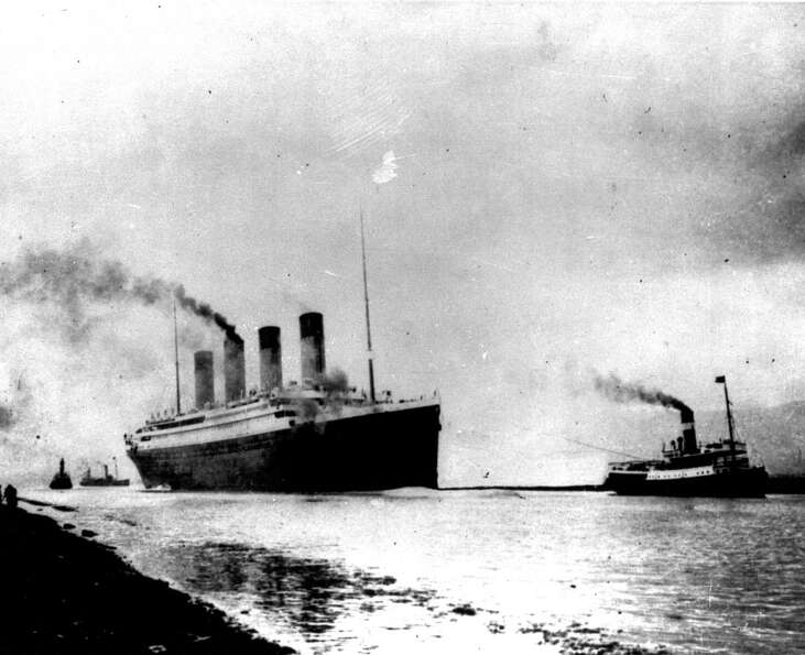 FILE - In this April 10, 1912 file photo, the Titanic departs Southampton, England on its maiden Atl