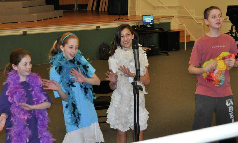 Picturedperforming their Circulatory System Song are, from left, Lauren Bright, Colleen Brereton, Christina Canora and Gabe Salvi. Photo: Contributed Photo
