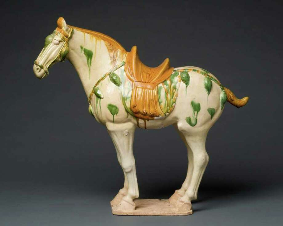 Above is a photograph of a Sancai-glazed pottery horse crafted during the Tang Dynasty from 618 to 906 A.D. from the collection  of Jane and Leopold Swergold. Fairfield Universityís Bellarmine Museum of Art will display 13 examples from the collection in an ìImmortality of the Spirit: Chinese Funerary Art from the Han and Tang Dynastiesî exhibit to be held from mid-April through early June. Photo: Contributed Photo