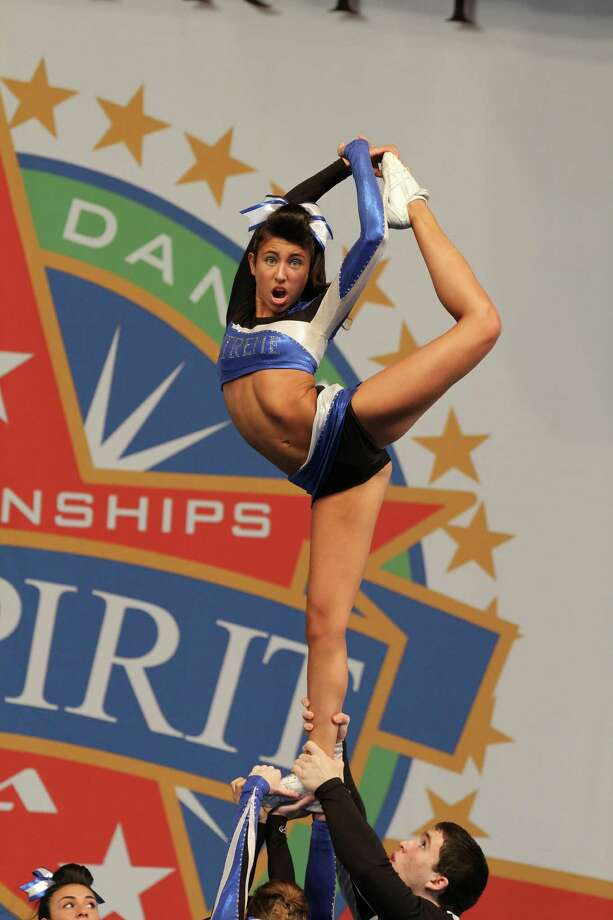Greenwich resident Alexis Zeballos performs her scorpion during Xtreme's Coed 3 routine. Photo: Contributed Photo