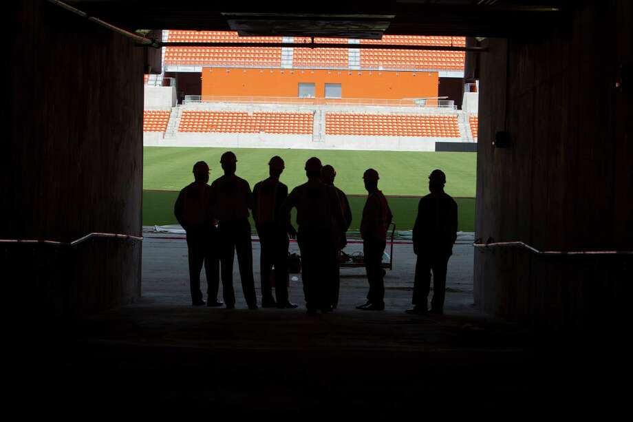 The main tunnel for field access at the BBVA Compass Stadium the new home of the Houston Dynamo soccer team, Tuesday, April 10, 2012, in Houston. Photo: James Nielsen, Chronicle / © 2012 Houston Chronicle