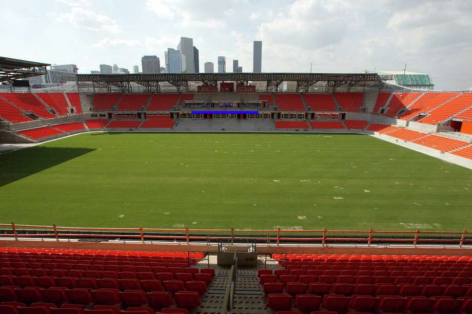 A view of the field from the upper level at the BBVA Compass Stadium the new home of the Houston Dynamo soccer team, Tuesday, April 10, 2012, in Houston. Photo: James Nielsen, Chronicle / © 2012 Houston Chronicle