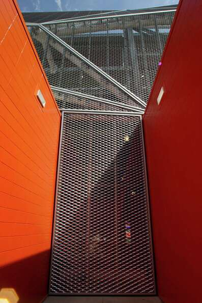 The metal exterior of the BBVA Compass Stadium.