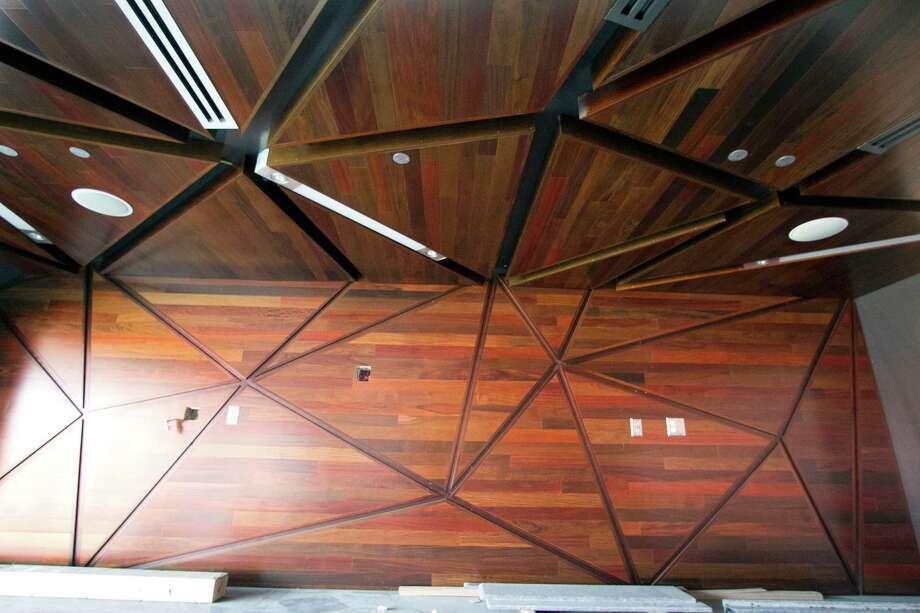 Triangle pattern wood panels inside the BBVA Compass Stadium. Photo: James Nielsen, Chronicle / © 2012 Houston Chronicle