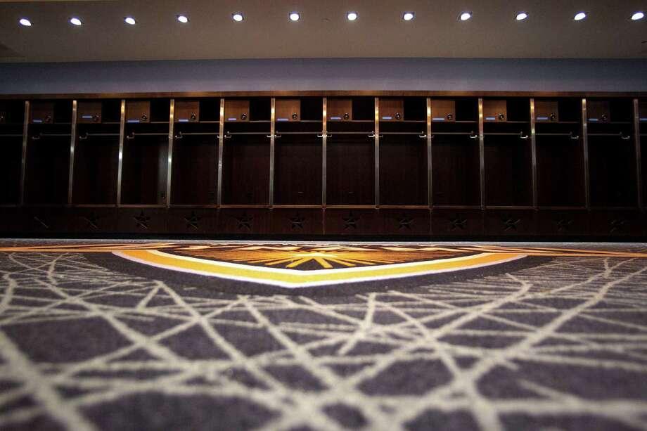 The Houston Dynamo locker room at the BBVA Compass Stadium, Tuesday, April 10, 2012, in Houston. Photo: James Nielsen, Chronicle / © 2012 Houston Chronicle