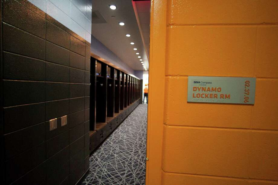 The entrance to the Houston Dynamo locker room at the BBVA Compass Stadium, Tuesday, April 10, 2012, in Houston. Photo: James Nielsen, Chronicle / © 2012 Houston Chronicle