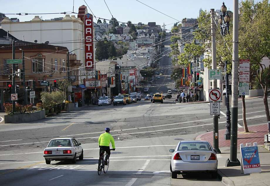 The street where Chris Bucchere was riding his bicycle down when he ran over 71-year-old pedestrian Sutchi Hui who was crossing Castro, at Market street. Sutchi Hui, died. In San Francisco, Calif. on Saturday, April 7, 2012. Photo: Jill Schneider, The Chronicle
