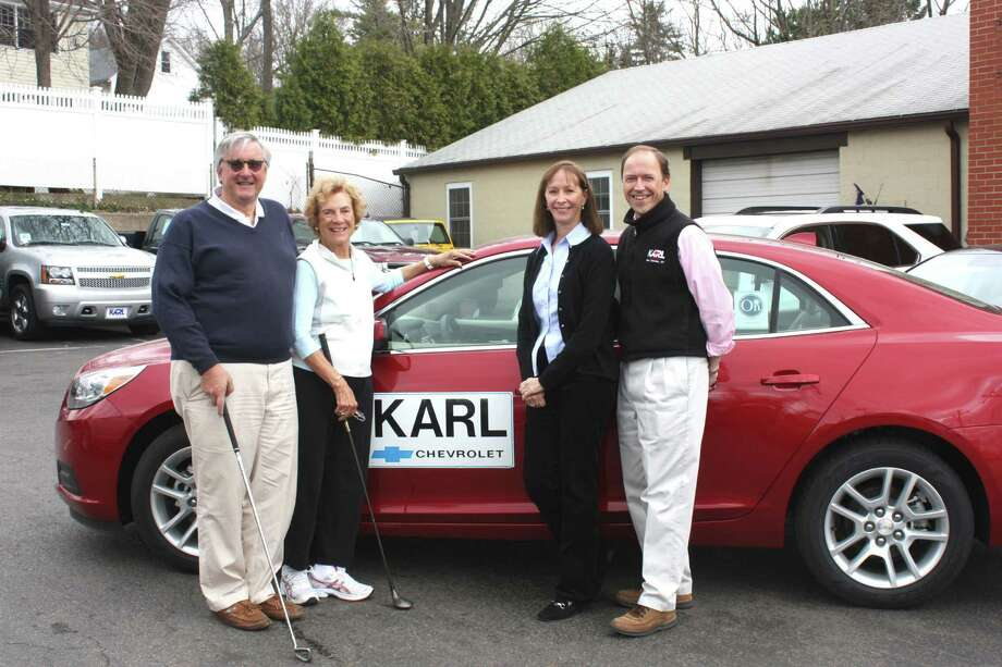 For the 10th consecutive year, KARL Chevrolet is the Hole-In-One sponsor for Waveny Care Networkís annual Swinging for Seniors Golf and Tennis Outing scheduled for Monday, May 21. From left, Tom Lewis, board member and event golf co-chairman; Barbara Burns, event founder; Sharon Stevenson, board member and event tennis co-chairman; and Stephen J. Karl, vice president of KARL Chevrolet. Photo: Contributed Photo