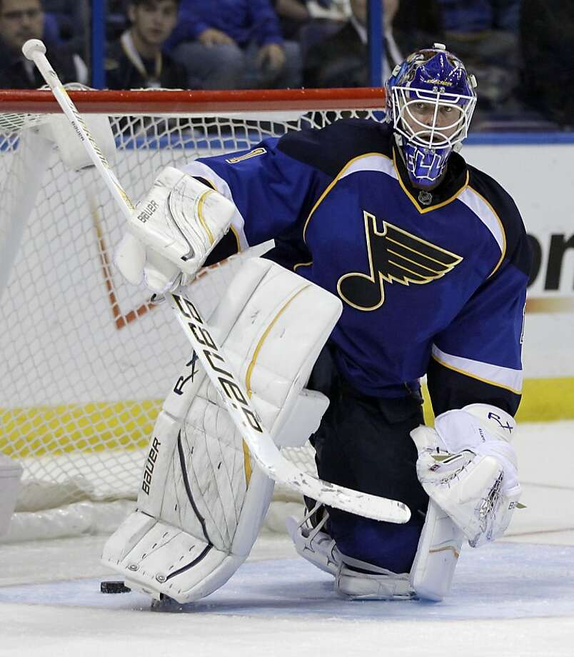 St. Louis Blues goalie Brian Elliott gets up after allowing a goal by Phoenix Coyotes' Mikkel Boedker, of Denmark, during the third period of an NHL hockey game on Friday, April 6, 2012, in St. Louis. The Coyotes won 4-1. (AP Photo/Jeff Roberson) Photo: Jeff Roberson, Associated Press