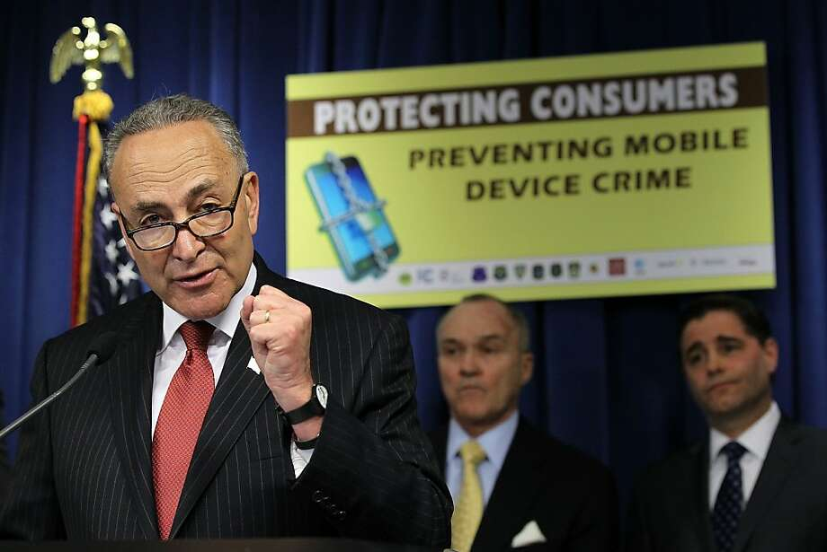 "U.S. Sen. Charles Schumer (D-N.Y.) (L) speaks as New York City Police Department Commissioner Ray Kelly (2nd L), and Federal Communications Commission (FCC) Chairman Julius Genachowski (R) listen during a news conference to announce ""a major wireless industry agreement to combat cell phone theft and related crimes"" April 10, 2012 at the Wilson Building in Washington, DC. The news conference was to announce initiatives to combat the growing robbery rate targeting smartphones and other cell phones.  Photo: Alex Wong, Getty Images"