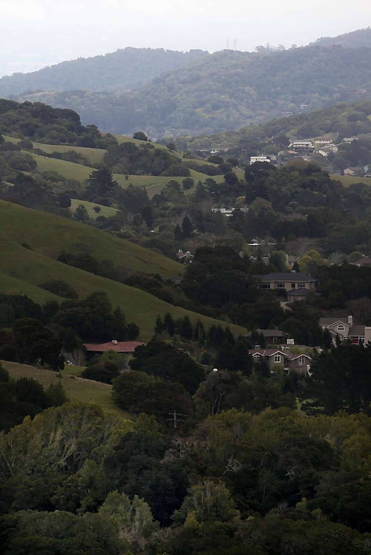 George Lucas will not be building a 270,000 square foot digital media production compound on Grady Ranch in San Rafael, Calif., on the clear hillside (front left, in front of red roof) fronting a 174 house community seen in the background on Friday, March 30, 2012.