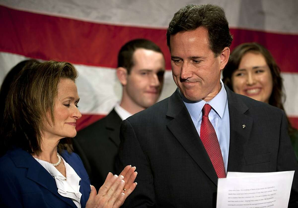 Surrounded by members of his family, Republican presidential candidate, former U.S. Sen. Rick Santorum announces he will be suspending his campaign during a press conference at the Gettysburg Hotel on April 10, 2012 in Gettysburg, Pennsylvania. Santorum's three-year-old daughter, Bella, became ill over the Easter holiday and poll numbers showed he was losing to Mitt Romney in his home state of Pennsylvania.