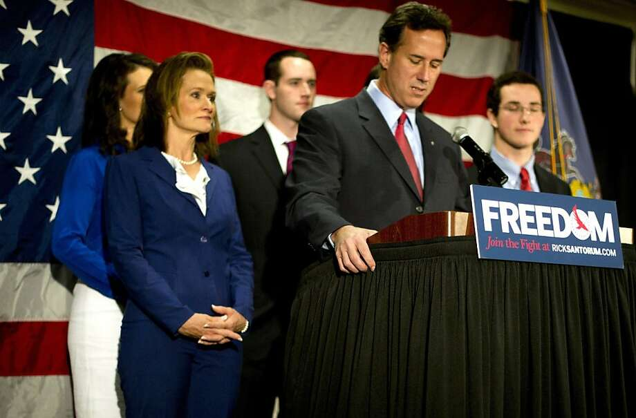 Surrounded by members of his family, Republican presidential candidate, former U.S. Sen. Rick Santorum announces he will be suspending his campaign during a press conference at the Gettysburg Hotel on April 10, 2012 in Gettysburg, Pennsylvania. Santorum's three-year-old daughter, Bella, became ill over the Easter holiday and poll numbers showed he was losing to Mitt Romney in his home state of Pennsylvania. Photo: Jeff Swensen, Getty Images