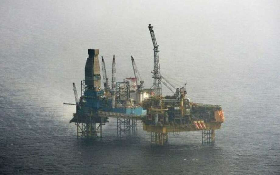The Wednesday, March 28, 2012 aerial shot provided by Greenpeace shows Total's Elgin Wellhead Platform in the North Sea off the shore of Scotland. A two-mile exclusion zone has been set up around the offshore platform in the North Sea which has been evacuated after a gas leak, Tuesday, March 27, 2012. The leak on Total's Elgin PUQ platform, about 150 miles (241km) off the coast of Aberdeen, led to the evacuation of all 238 workers on Sunday. Photo: Martin Langer / Martin Langer / Greenpeace