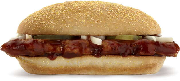 This product image courtesy of McDonald's shows their McRib sandwich. McDonald's Corp. said Wednesday, Dec. 8, 2010, a key sales figure rose 4.8 percent in November, helped in the U.S. by the popularity of the limited-time McRib sandwich. (AP Photo/McDonald's)