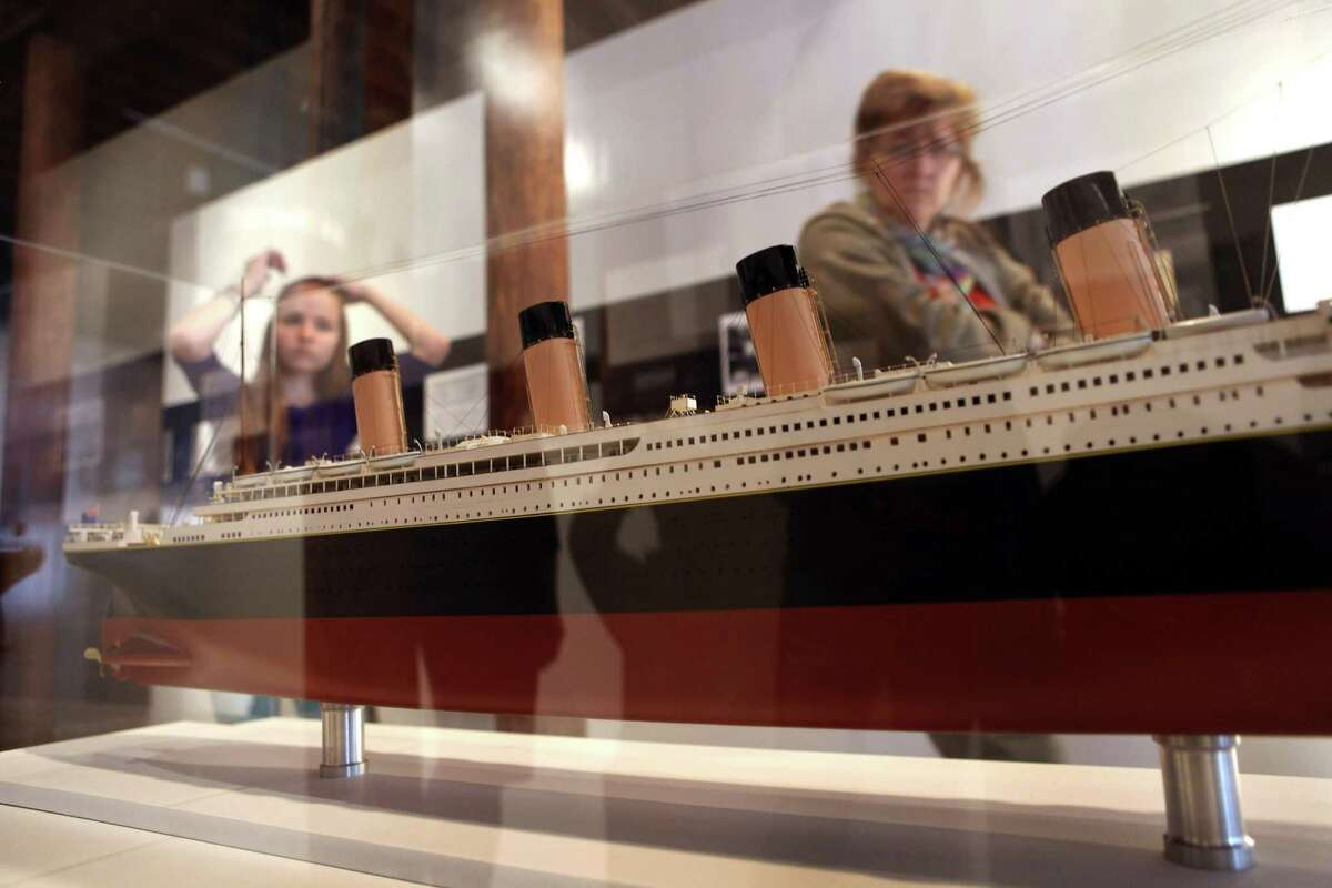 NEW YORK, NY - APRIL 10: A scale model of the RMS Titanic sits on display at the opening of the