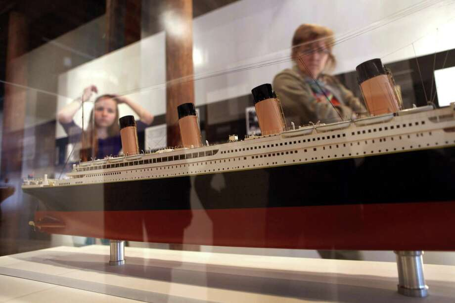 "NEW YORK, NY - APRIL 10:  A scale model of the RMS Titanic sits on display at the opening of the ""Titanic at 100: Myth and Memory"" exhibition on April 10, 2012 in New York City. The exhibit opened at the Melville Gallery, part of the South Street Seaport Museum, on the 100th anniversary of Titanic's launch on her maiden - and only - voyage. The exhibition features mayday communications from the ship, personal artifacts from survivors, production items from Titanic films and interactive multimedia tours through the ship. The British passenger liner sank in the North Atlantic Ocean, killing more than 1,500 people on April 15,1912 after colliding with an iceberg during her maiden voyage from Southampton, England to New York City. Photo: John Moore, Getty Images / 2012 Getty Images"