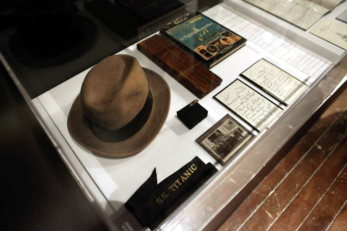 NEW YORK, NY - APRIL 10: Artifacts from the RMS Titanic sit on display at the opening of the