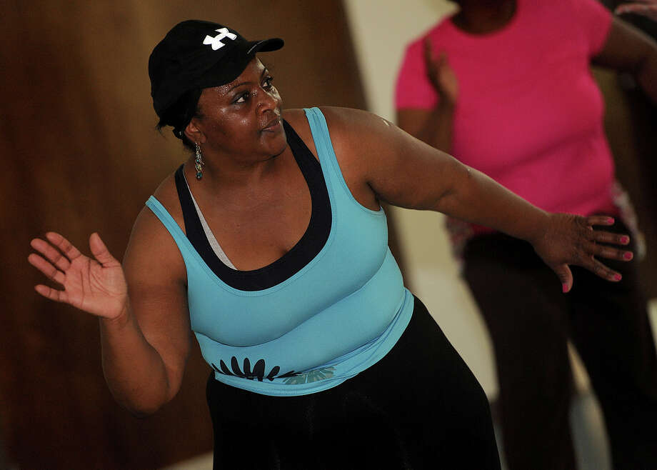 Nina Prevost, 50, has worked on losing weight and lowering her high blood pressure for five years. Prevost said she works out and exercises to Zumba at Antioch Missionary Baptist Church.  Photo taken Tuesday, April 3, 2012. Guiseppe Barranco/The Enterprise Photo: Guiseppe Barranco, STAFF PHOTOGRAPHER / The Beaumont Enterprise