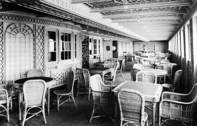 FILE -- The Cafe Parisien aboard the RMS Titanic in an undated photo. The largest ship afloat at the time, the Titanic sank in the north Atlantic Ocean on April 15, 1912, after colliding with an iceberg during her maiden voyage from Southampton to New York City.  (The New York Times)