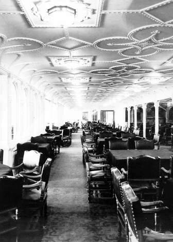 FILE -- The first class dining saloon aboard the RMS Titanic in an undated photo. The largest ship afloat at the time, the Titanic sank in the north Atlantic Ocean on April 15, 1912, after colliding with an iceberg during her maiden voyage from Southampton to New York City.  (The New York Times)