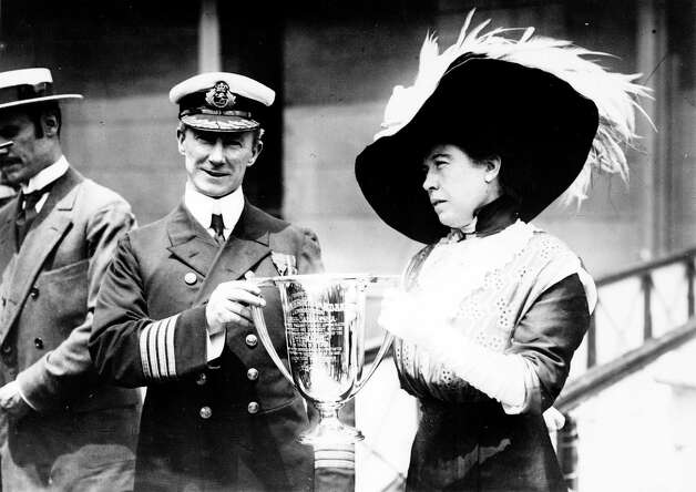 "FILE -- Captain Arthur Henry Rostron is presented with an award by Margaret Brown, a survivor of the RMS Titanic sinking who later came to be known as ""The Unsinkable Molly Brown,"" in this undated photo. Rostron was honored for his efforts as commander of the RMS Carpathia, which rescued many of the Titanic survivors from the north Atlantic Ocean and ferried them to safety in New York.   (The New York Times) Photo: THE NEW YORK TIMES, NYT / NYTNS"
