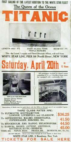 FILE -- A poster prepared by the White Star Line's New York office to promote the RMS Titanic's return trip from New York, scheduled for April 20, 1912. The largest ship afloat at the time, the Titanic sank in the north Atlantic Ocean on April 15, 1912, after colliding with an iceberg during her maiden voyage from Southampton to New York City.  (The New York Times)  Photo: THE NEW YORK TIMES, NYT / NYTNS