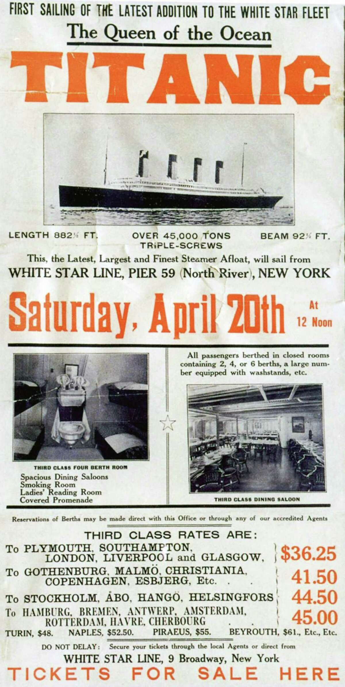 FILE -- A poster prepared by the White Star Line's New York office to promote the RMS Titanic's return trip from New York, scheduled for April 20, 1912. The largest ship afloat at the time, the Titanic sank in the north Atlantic Ocean on April 15, 1912, after colliding with an iceberg during her maiden voyage from Southampton to New York City. (The New York Times)
