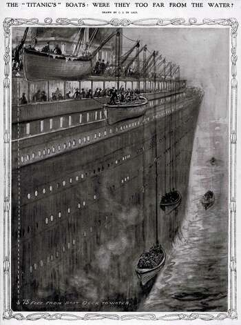 FILE -- An artist's depiction of lifeboats being lowered from the RMS Titanic. The largest ship afloat at the time, the Titanic sank in the north Atlantic Ocean on April 15, 1912, after colliding with an iceberg during her maiden voyage from Southampton to New York City.  (The New York Times) Photo: THE NEW YORK TIMES, NYT / NYTNS
