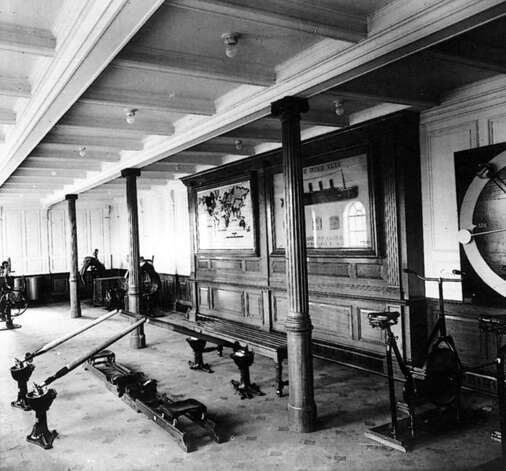 FILE -- The gymnasium aboard the RMS Titanic in an undated photo. The largest ship afloat at the time, the Titanic sank in the north Atlantic Ocean on April 15, 1912, after colliding with an iceberg during her maiden voyage from Southampton to New York City.  (The New York Times)
