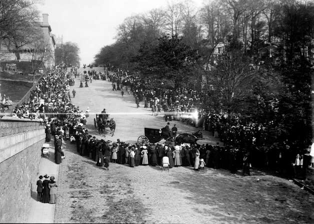 FILE -- The funeral procession of John Jacob Astor IV, who died in the sinking of the RMS Titanic, enters Trinity Church Cemetery in upper Manhattan in this May 1912 photo.  The largest ship afloat at the time, the Titanic sank in the north Atlantic Ocean on April 15, 1912, after colliding with an iceberg during her maiden voyage from Southampton to New York City.  (The New York Times)  Photo: THE NEW YORK TIMES, NYT / NYTNS