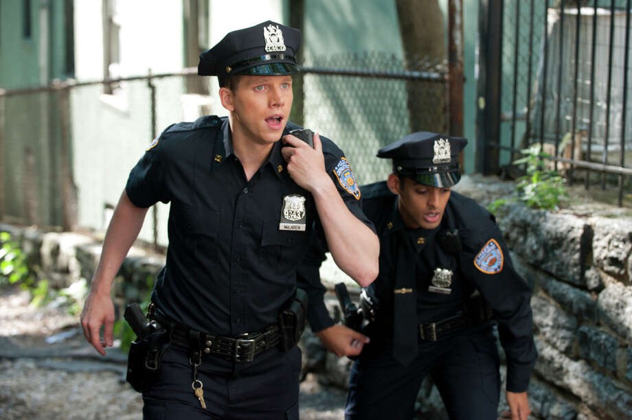 "Tom Reed, right, stars as Afghan native Ahmad Khan and Stark Sands as fourth-generation cop Kenny McLaren, rookies tasked with patrolling the gritty streets of Harlem on ""NYC 22."" Photo: CBS / ONLINE_YES"