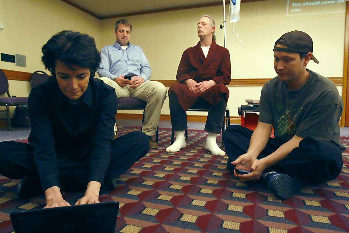 (L-R) Lena (Janis De Lucia), Peter (Jeff Newton), George (Duane Schrirmer) and Bink (Christian Hines) in a rehearsal of
