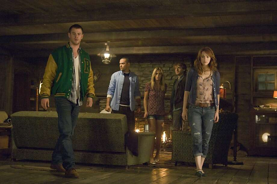 From left to right: Curt (Chris Hemsworth), Holden (Jesse Williams), Jules (Anna Hutchison), Marty (Fran Kranz) and Dana (Kristen Connolly) in THE CABIN IN THE WOODS.  From left to right: Curt (Chris Hemsworth), Holden (Jesse Williams), Jules (Anna Hutchison), Marty (Fran Kranz) and Dana (Kristen Connolly) in THE CABIN IN THE WOODS. Photo: Diyah Pera, Lionsgate