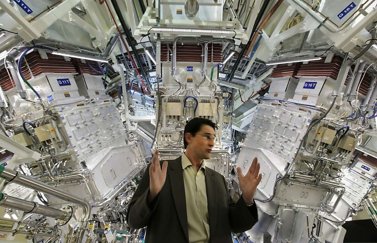 Bruno Van Wonterghem, operations manager, for the National Ignition Facility in front of the target chamber, where 192 laser beams are focused on a small target. Lawrence Livermore National Laboratory dedicates the National ignition Facility today in Livermore, Calif. on Friday May 29, 2009.