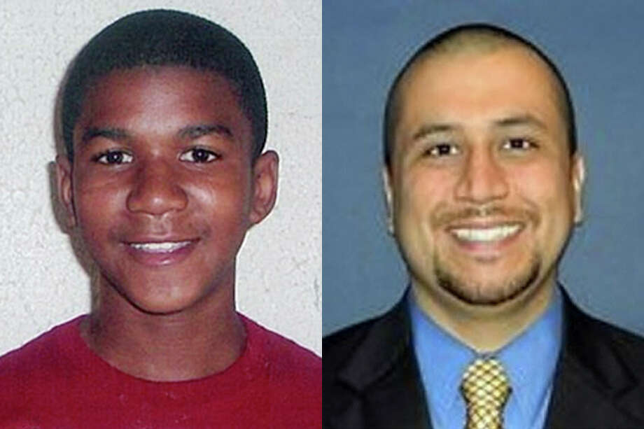 This combo made from file photos shows Trayvon Martin, left, and George Zimmerman.  The fatal shooting of an unarmed black teenager _ Martin _ by a neighborhood watch volunteer _ Zimmerman _ led to nationwide protests calling for the shooter's arrest. Martin's parents, civil rights leaders and other people are portraying the case as racially charged, saying the Zimmerman would have been arrested had he been black and the victim white.  Zimmerman told police he acted in self-defense after Martin pursued and attacked him. (AP Photo) Photo: HONS / Family/Orlando Sentinel