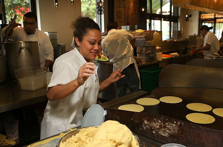 Gabby Bricenos making tortillas at Nopalito in San Francisco, Calif.,  on Tuesday, January 18, 2012. A second branch of the restaurant is scheduled to open in the Inner Sunset later this month (April 2012). Photo: Liz Hafalia, The Chronicle