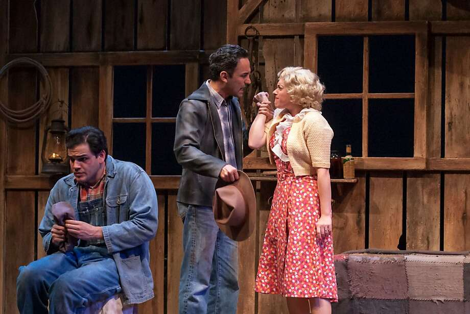 "Lennie (AJ Meijer, left) reacts as George (Jos Viramontes) tries to protect him from getting involved with Curley's wife (Lena Hart) in TheatreWorks' revival of John Steinbeck's ""Of Mice and Men"" Photo: Mark Kitaoka"