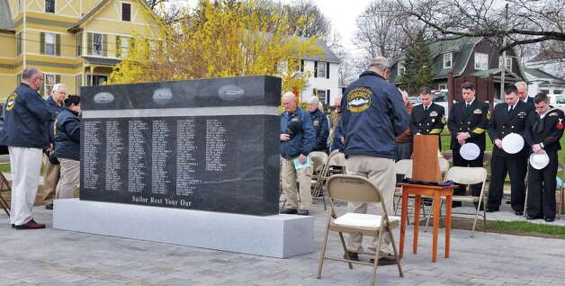 Albany-Saratoga Submarine Veterans conduct a solemn ceremony to toll the bell to honor the lost submarines and submarine sailors during a ceremony at Veteran?s Memorial Park in Ballston Spa Wednesday April 11, 2012. (John Carl D'Annibale / Times Union) Photo: John Carl D'Annibale / 00017162A