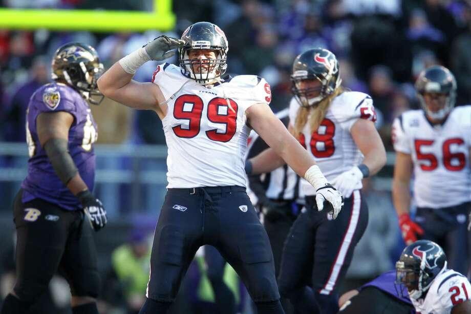 J.J. Watt, the Texans' top draftee last year, emerged as a rookie force at defensive end, totaling 51/2 sacks in the regular season and adding 31/2 more in the team's two playoff games. Photo: Karen Warren / © 2012  Houston Chronicle