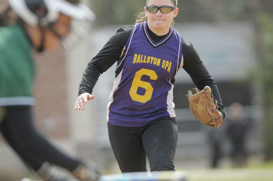 Mikayla Simek of Ballston Spa High School softball team moves in to defend against a bunt  during their game against Shenendehowa High School on Wednesday, April 11, 2012 in Ballston Spa, NY.     (Paul Buckowski / Times Union) Photo: Paul Buckowski